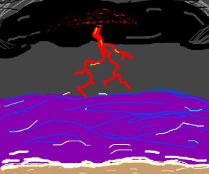 Red lightning bolt over the ocean