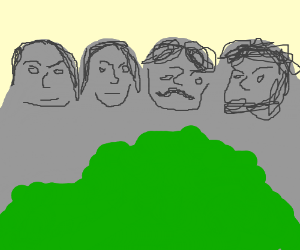People's faces on a rock