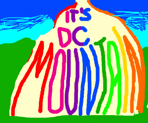 """It's DC Mountain"" written in multiple colors."