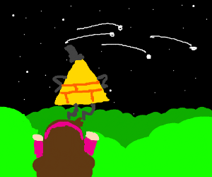 Mabel watches Bill Cipher near shooting stars