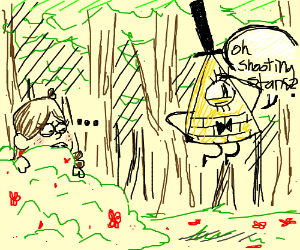 Mabel hides in bush from Bil Cipher