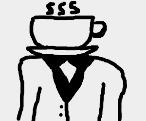 Man in suit but his head is a cup of coffee