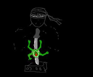 A ninja decides to kill a frog at 3am