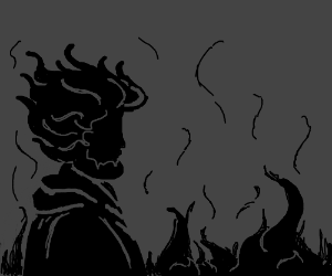 Mans silhoutte with fire for hair
