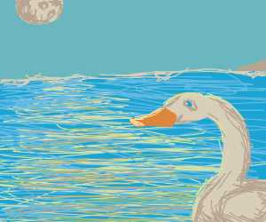 A lake, a swan, and a moon
