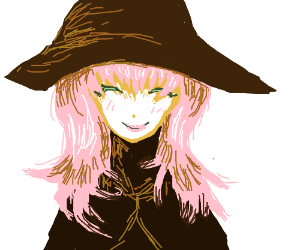 Happy witch with pink hair
