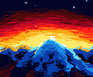 A glacier mountain during sunset