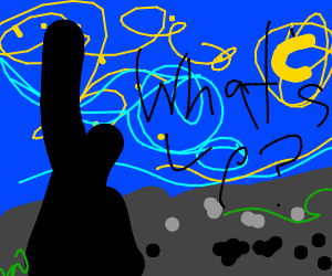 """Starry Night Painting says """"What's Up?"""""""