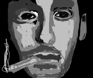 Man with long neck smoking