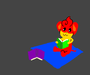 Pansear Reading a book. (drawing by breadbug)
