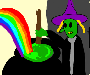 witch making rainbow