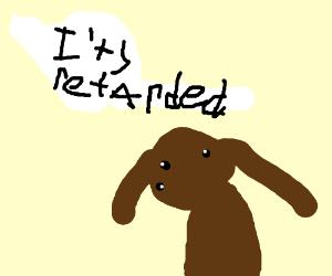 Retarded cartoon dog with no arms