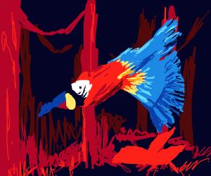 Macaw flies through glorious scarlet jungle