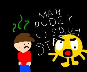 Emoji man yelling at stinky kid