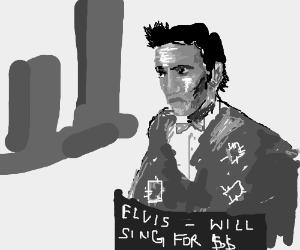 Skinny Elvis is starving