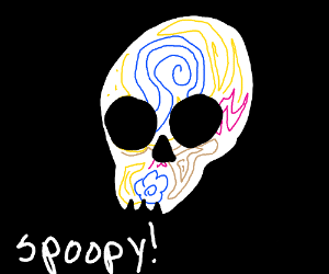 a sugar skull that is spooky