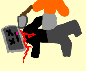 a beheading guy in black with computer face