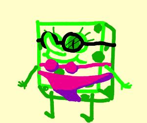 green spongebob wearing glasses and bikini