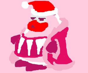 Penguin in Santa clothes