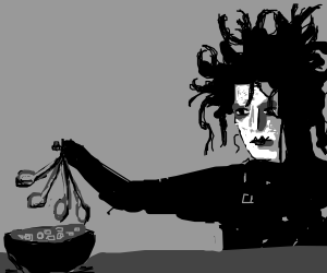 Edward scissorhands but with spoons eat cereal