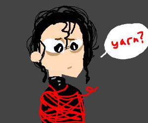Edward Sissorhands gets tangled by yarn
