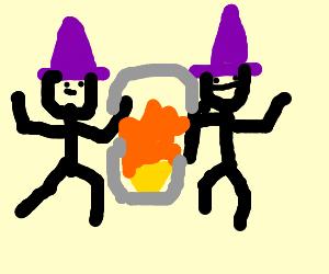 2 Wizards having fun at a fireplace