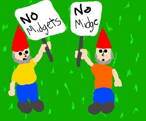 Gnome protesting