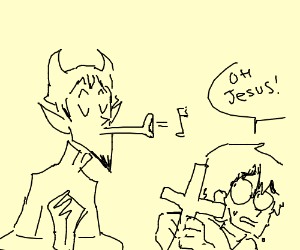 Satan guy hissing a Christian