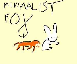 Minimalist fox hunting rabbit