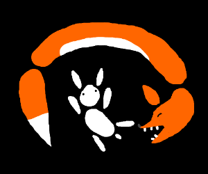 Abstract Fox eats Abstract Rabbit