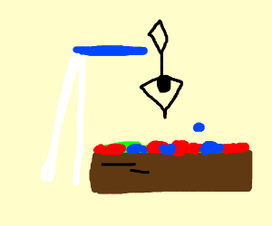 Stick figure diving off board into ball pit