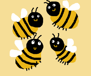 Just four happy bees. :)