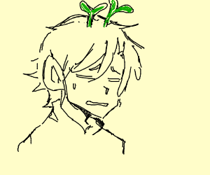 Tired anime man with somthng green in his hair