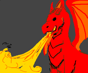 red dragon breathing fire