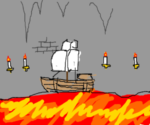 SmileyFace w/ candles on wall and boat on lava