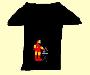 ironic shirt about iron man ironing