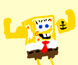 Spongbob with a big muscle