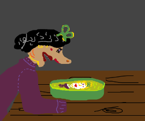 Gingerbread Witch gives Gretel a light cooking