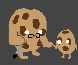 Old cookie holding young cookies hand