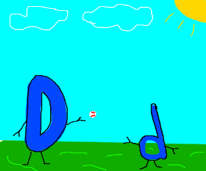 Drawception D plays baseball with his son, d.