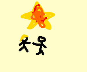 a couple enjoy the stars exploding