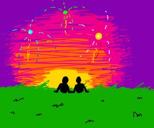Watching fireworks