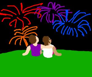 2 people watching fireworks