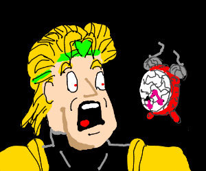 DIO is shocked at broken clock
