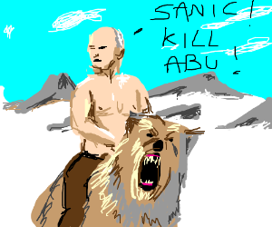 Putin riding bear yells at sanic to kill Abu