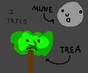 A beautiful drawing of the moon and a tree