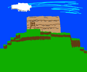 a minecraft house on a hill