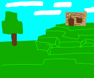 Wooden Minecraft House On A Hill