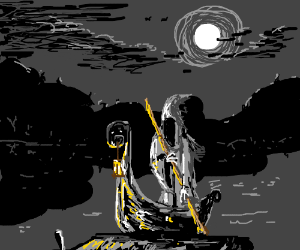 Charon Riding Down The River Styx Drawception