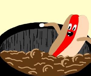 Hotdog taking a dip in Hot Chocolate